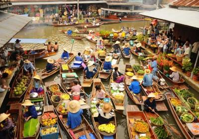 Damnoen Saduak plovoucí trh & Řeka Kwai & Jízda na slonech